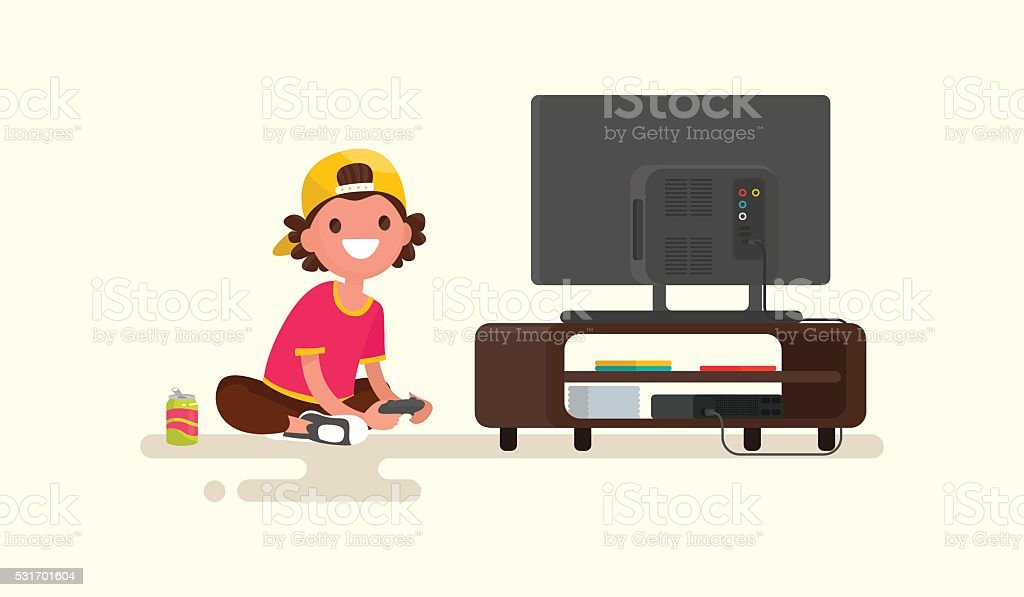 Boy playing video games on a game console. Vector illustration vector art illustration