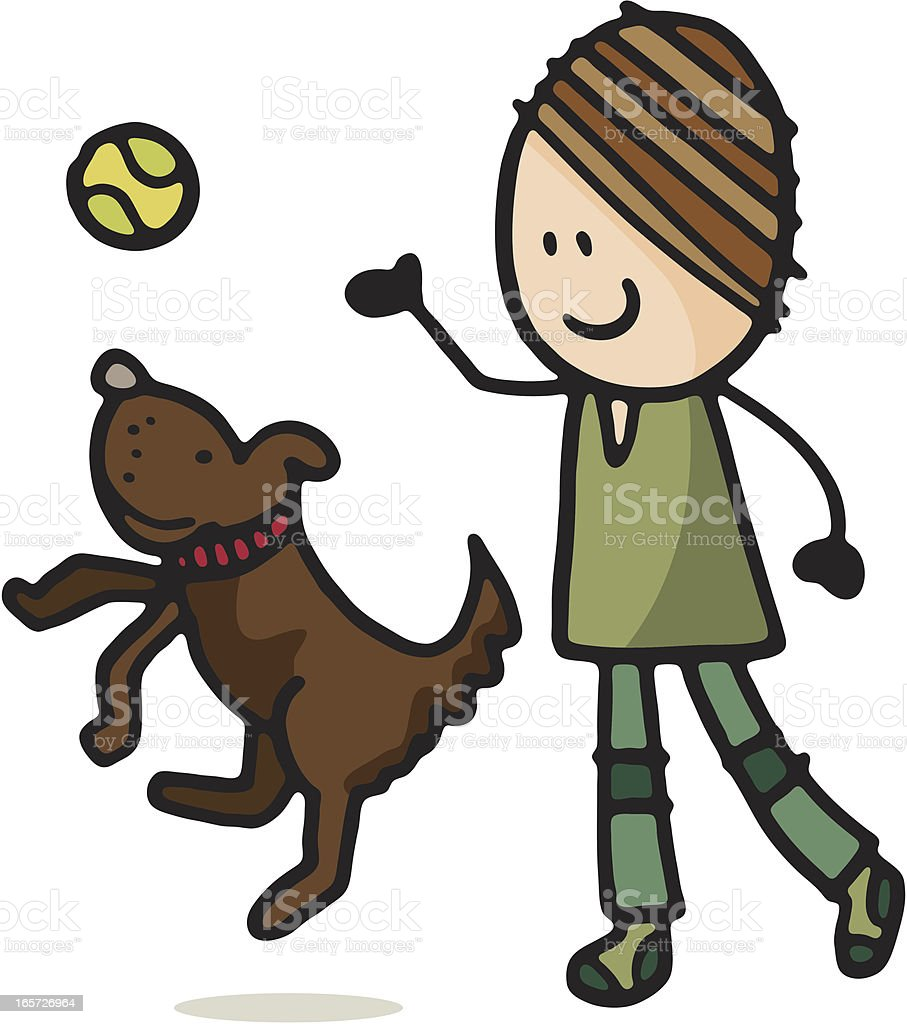 Boy playing with a dog royalty-free stock vector art