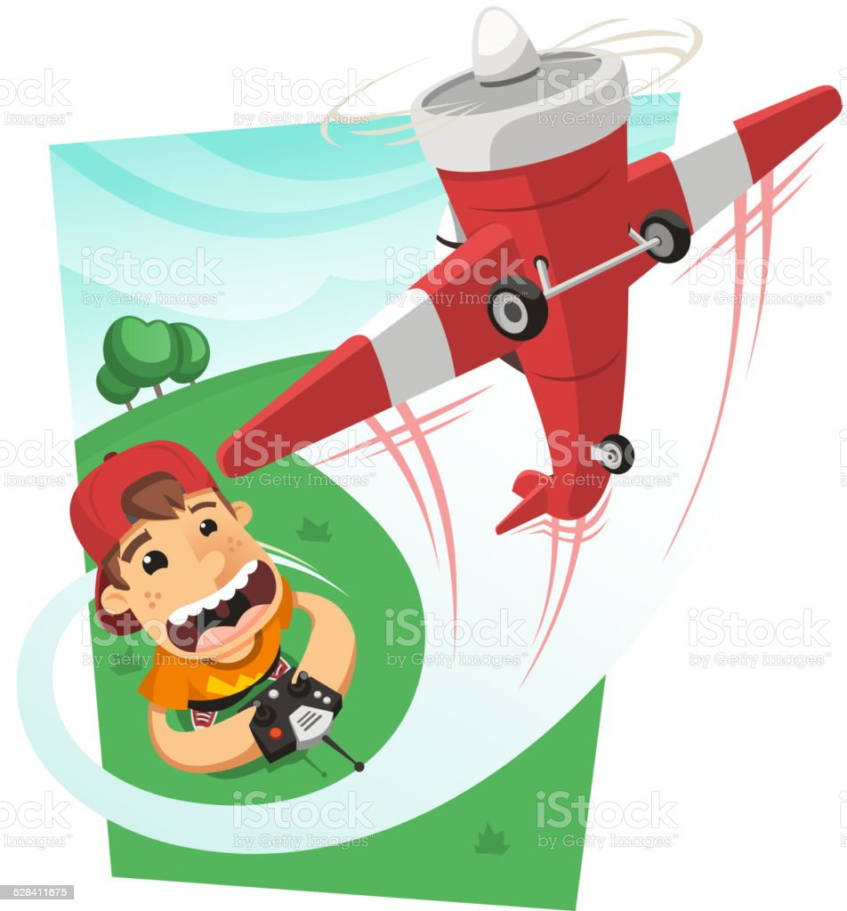 Boy playing with a remote control airplane in the park. vector art illustration