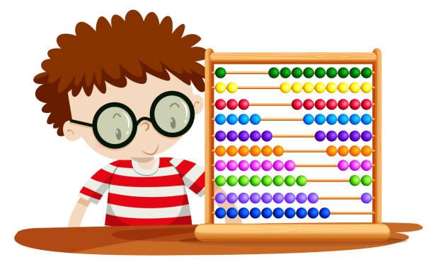 bildbanksillustrationer, clip art samt tecknat material och ikoner med pojke som leker med abacus - abakus