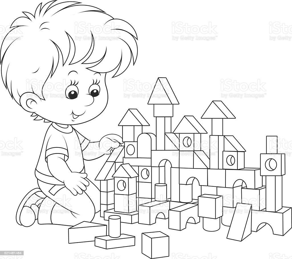Niño Jugando Con Bloques - Arte vectorial de stock y más imágenes de ...