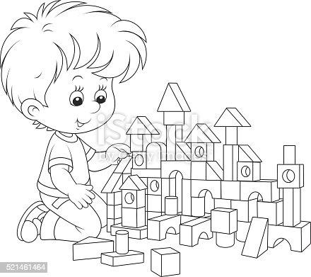 Ilustración de Niño Jugando Con Bloques y más banco de imágenes de ...