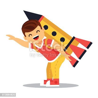 620402800istockphoto Boy playing with cardboard space rocket 513984820