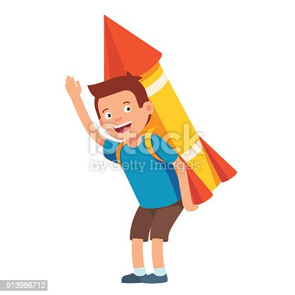 620402800istockphoto Boy playing with cardboard space rocket 513986712