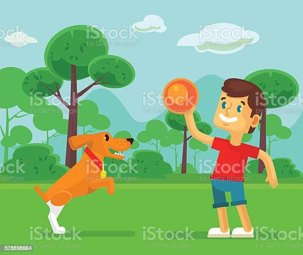 Boy playing with cute dog vector flat cartoon illustration vector id528898664?b=1&k=6&m=528898664&s=612x612&h=csgoylnrhzqwn vcu8djwpz0heeciudjoedprq9zt9k=