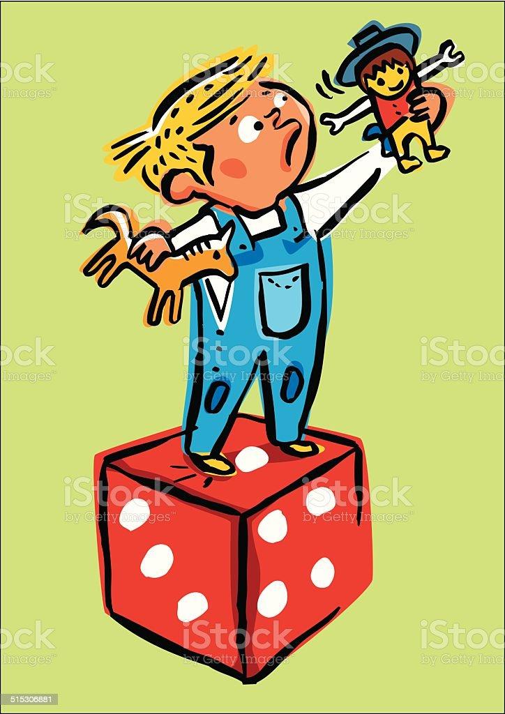 Niño jugando con los juguetes. - ilustración de arte vectorial