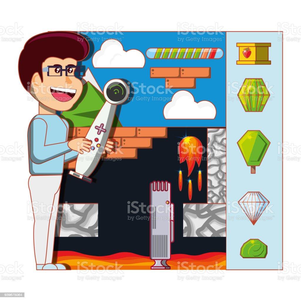 Ilustración De Niño Jugando Con Consola De Videojuegos Y Más