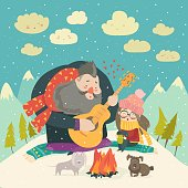 Boy plays guitar for a girl in the winter forest. Vector illustration