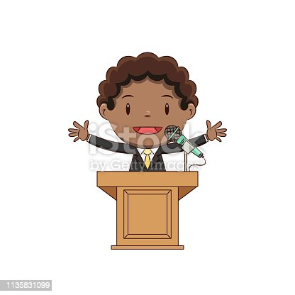 child podium speech, cute kid, speaker, talking, microphone, businessman, debate, discourse, confident, young man, person, boy, presentation, happy cartoon character, vector illustration, isolated, white background