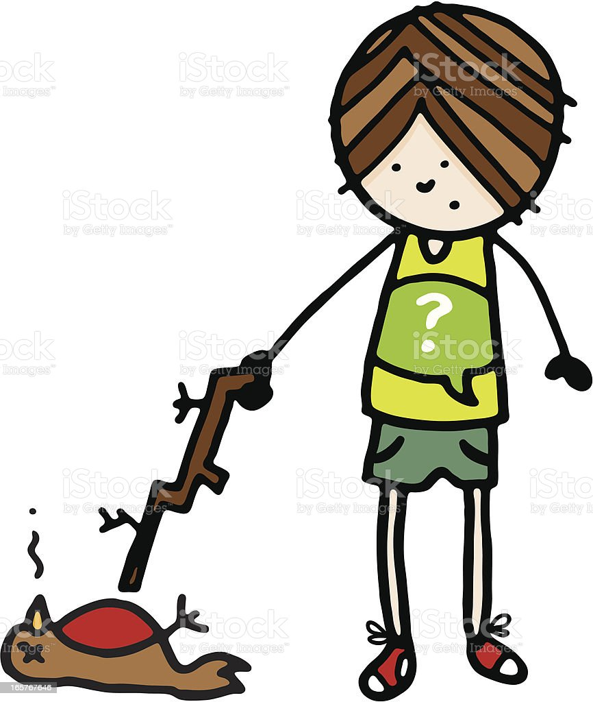 Boy poking a dead bird with stick royalty-free stock vector art
