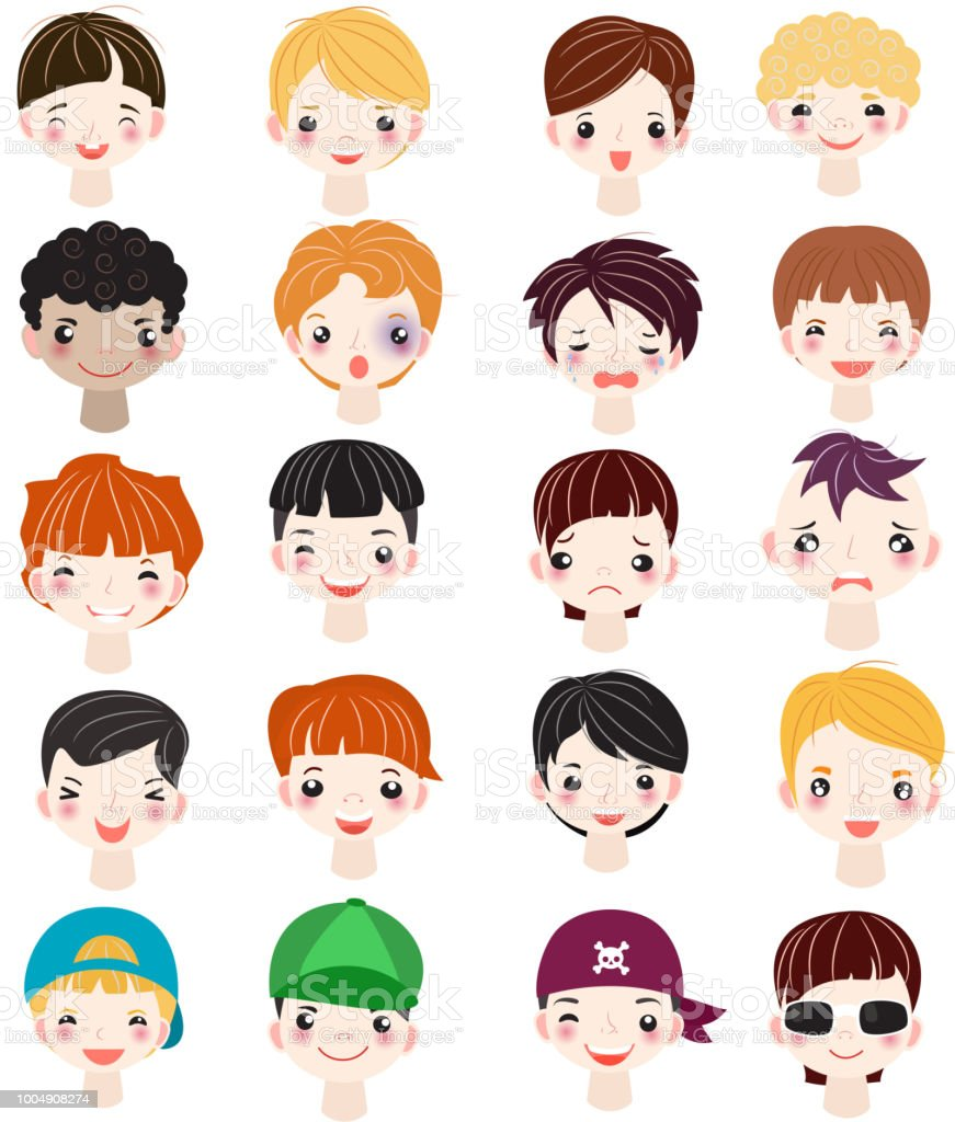 Boy Portrait Vector Kids Character Face Of Guy With Male Hairstyle