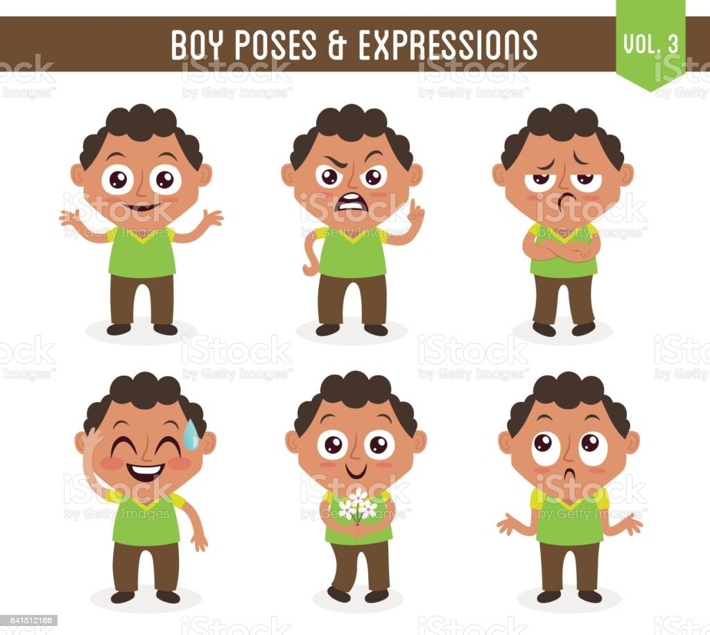 Boy poses and expressions (Vol. 3 / 8) vector art illustration