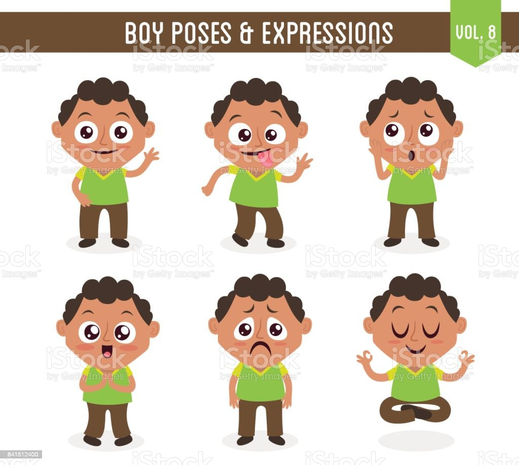 Boy poses and expressions (Vol. 8 / 8) vector art illustration