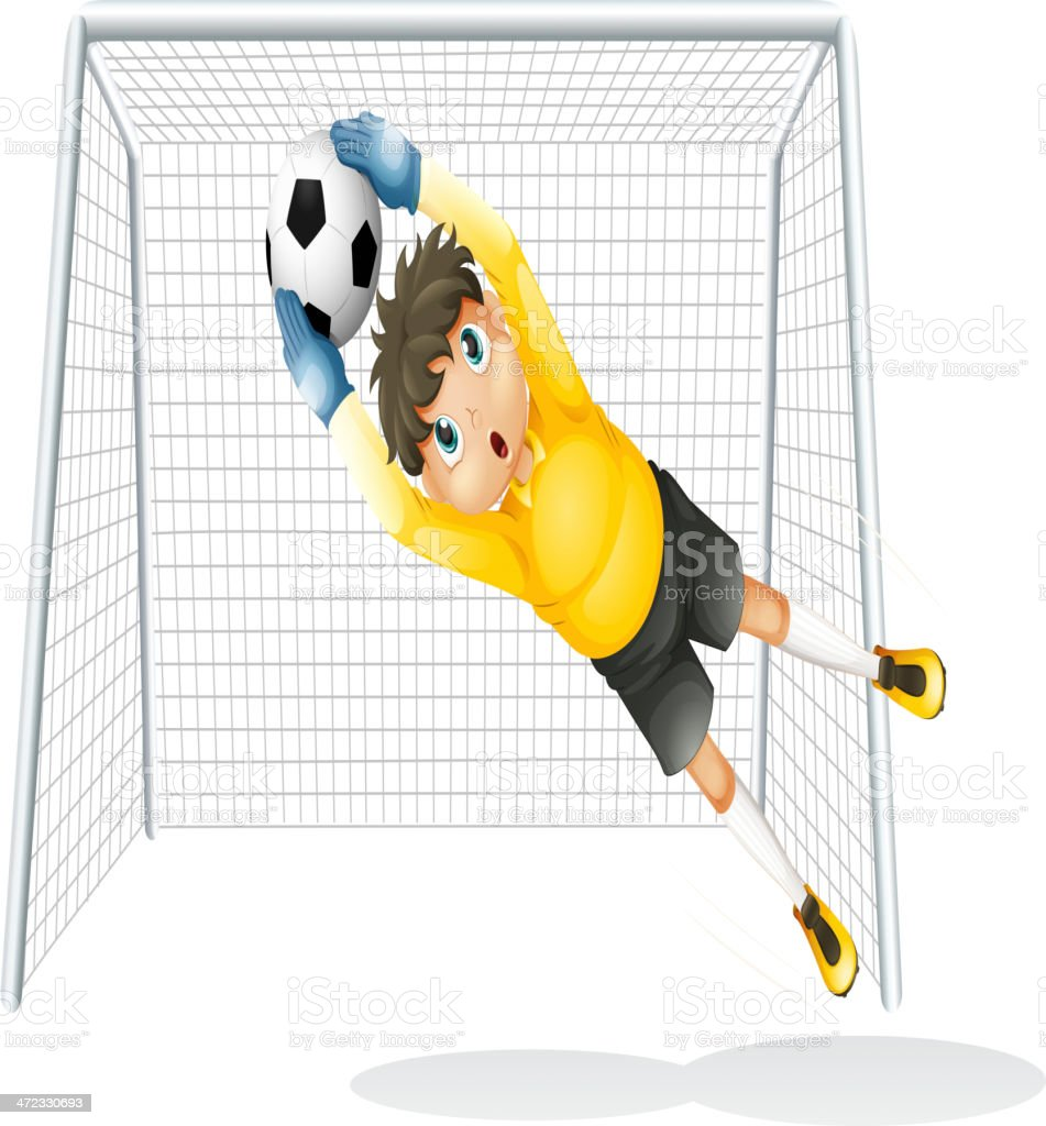 Boy Practicing To Catch The Soccer Ball Stock Illustration