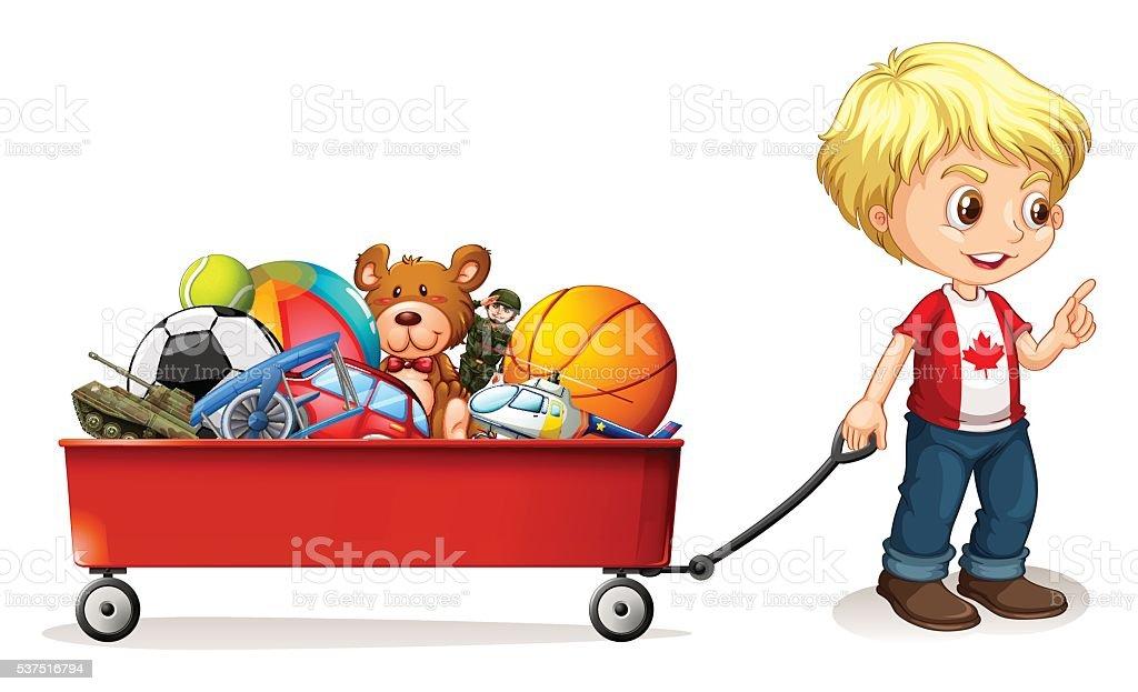 Boy Pulling Wagon : Menino puxando carrinho cheio de brinquedos arte
