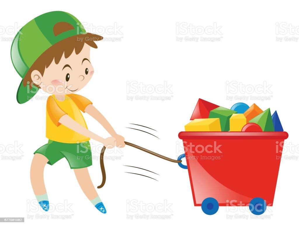 Boy pulling cart fullo of blocks royalty-free boy pulling cart fullo of blocks stock vector art & more images of art