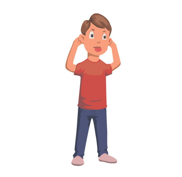 ilustrações de stock, clip art, desenhos animados e ícones de boy pulling faces and ears, tongue out character. flat vector illustration. isolated on white background. - puxar cabelos
