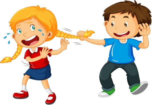ilustrações de stock, clip art, desenhos animados e ícones de boy pulling girl hair - puxar cabelos