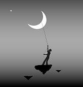 boy pulling the moon, life on the flying rock, wonderland, dream,