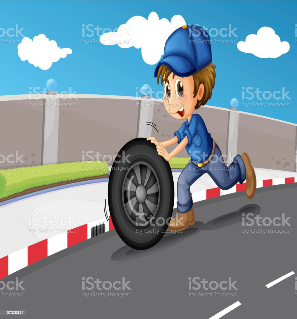 boy pushing a wheel along the road royalty-free stock vector art