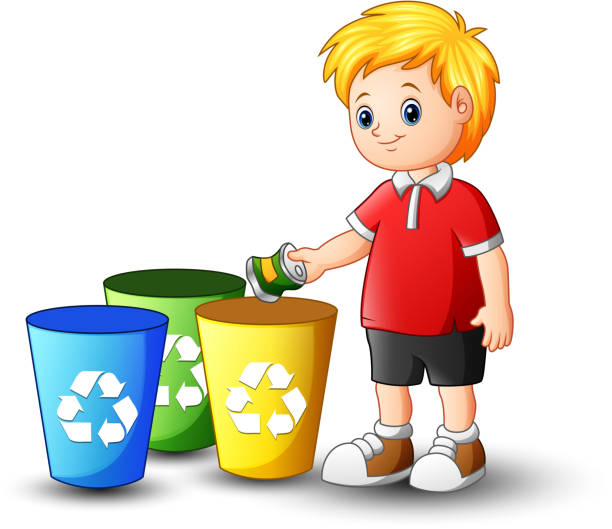 boy putting aluminum in recycling bin - child throwing garbage stock illustrations, clip art, cartoons, & icons