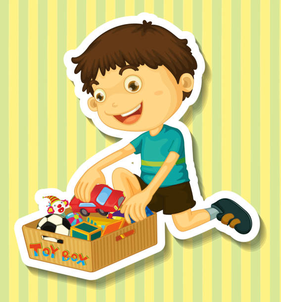 Royalty Free Child Putting Toys Away Clip Art, Vector ...
