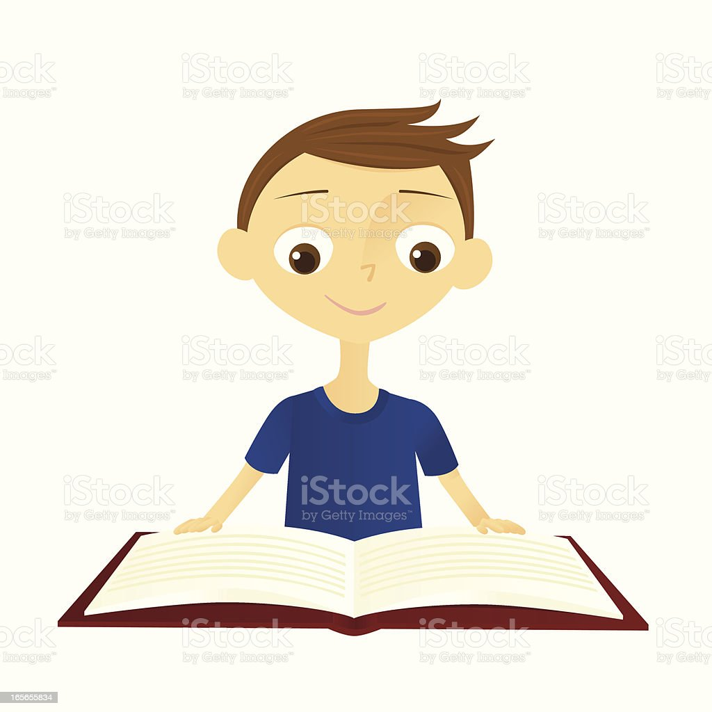 Boy Reading a Book royalty-free boy reading a book stock vector art & more images of book