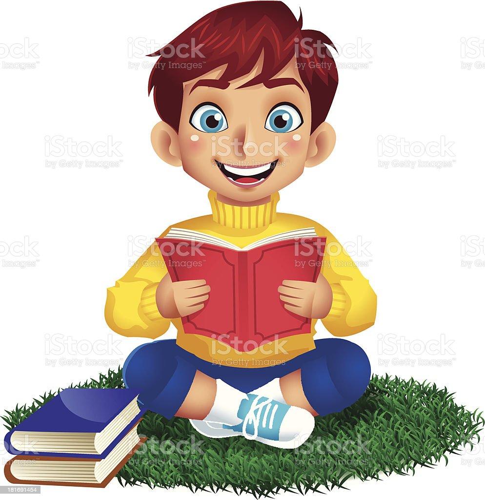 Junge liest ein Buch – Vektorgrafik