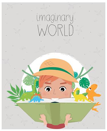 Boy reading books, cartoon style. Imagination concept .