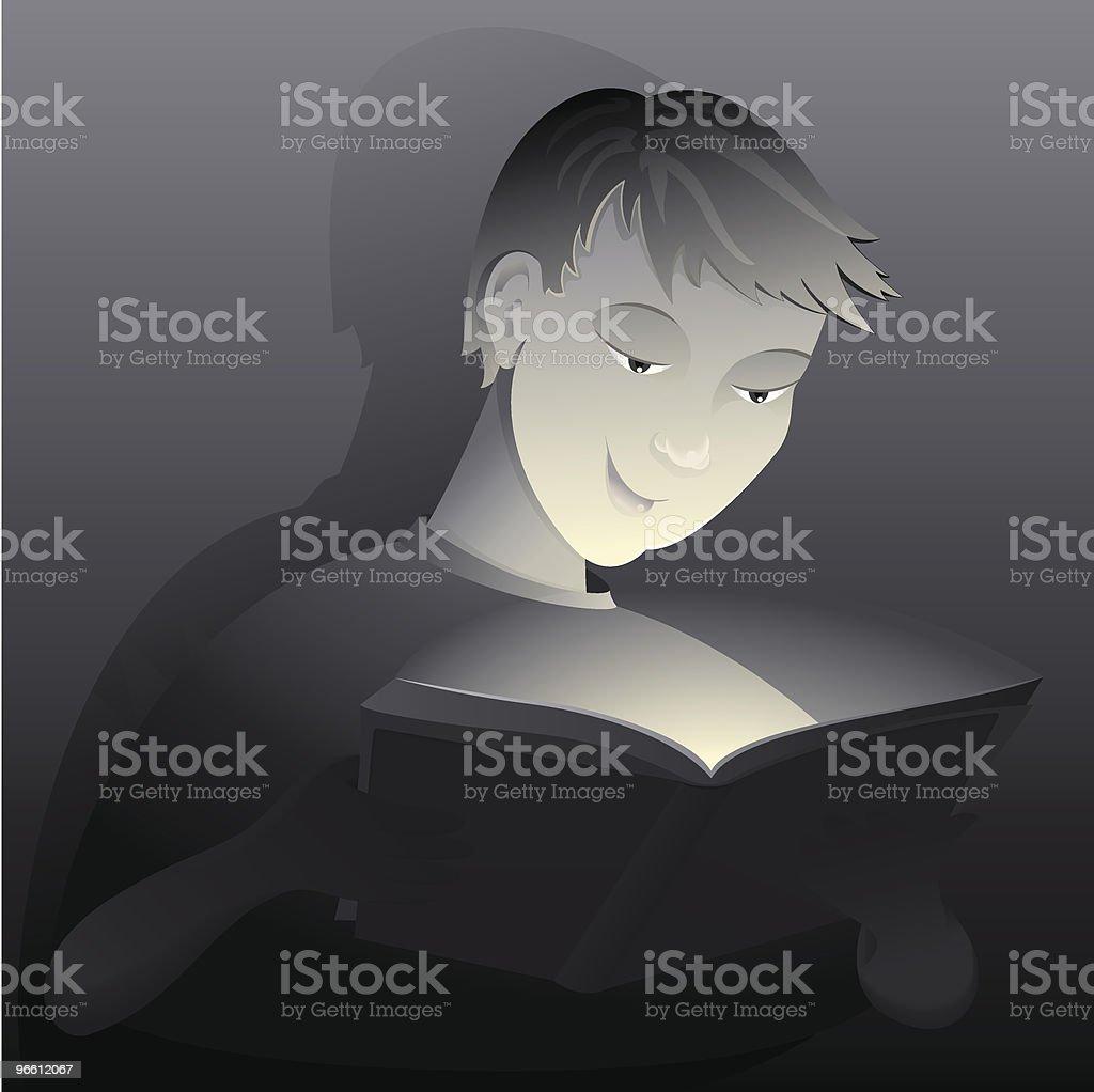 Boy reading from book - Royaltyfri Ansiktsuttryck vektorgrafik