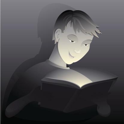 Boy Reading From Book Stockvectorkunst en meer beelden van Alleen kinderen