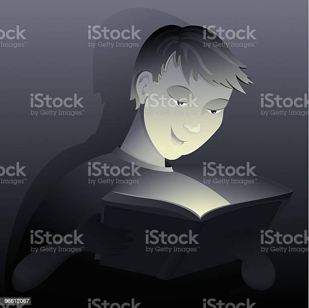 Boy Reading From Book-vektorgrafik och fler bilder på Ansiktsuttryck