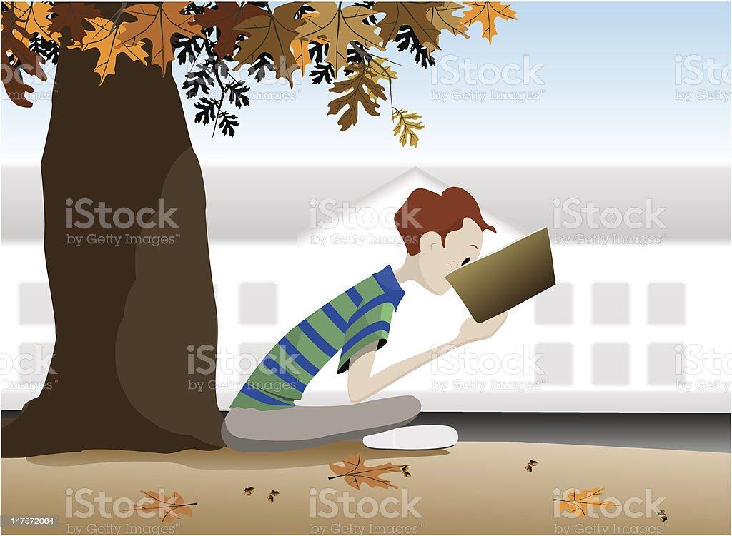 Boy reading in school yard vector art illustration