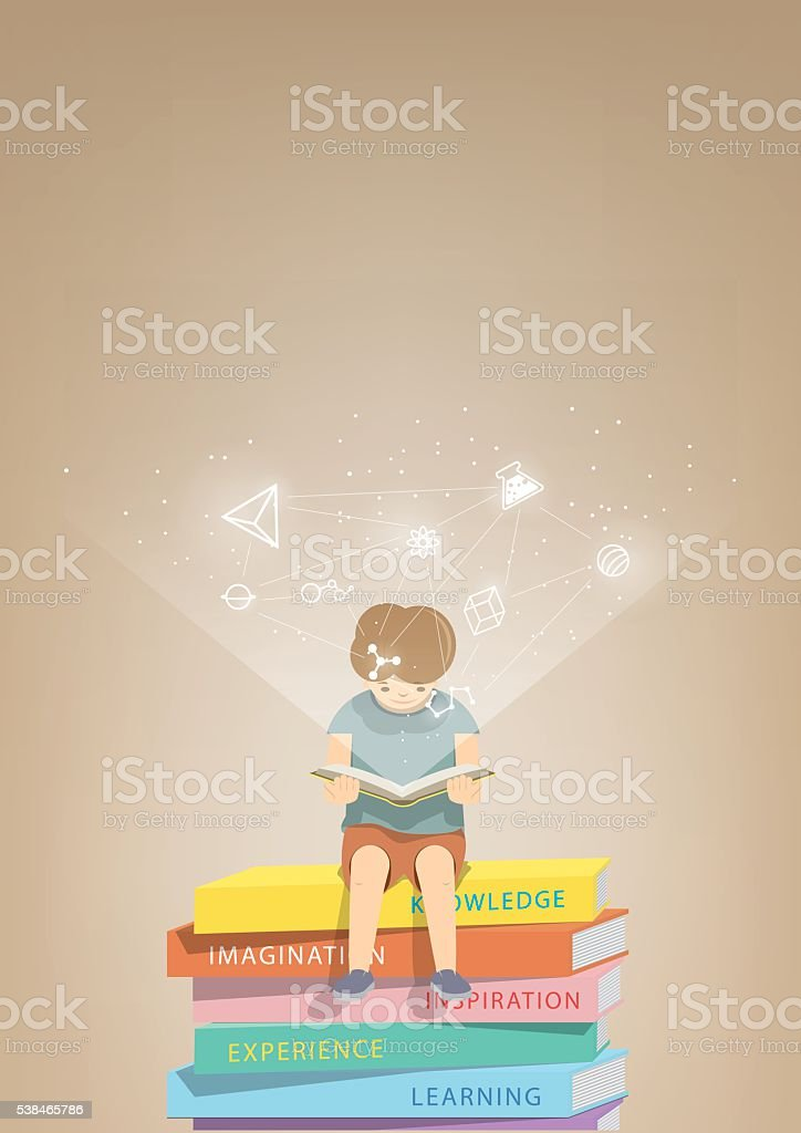 Boy reading on a pile books, icons refer to knowledge. vector art illustration