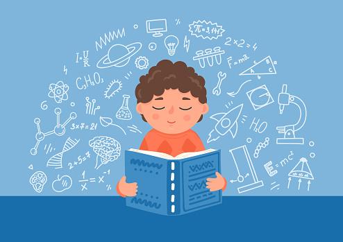 Boy reading textbook.