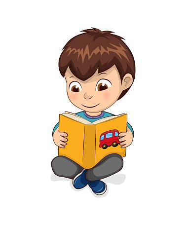 Boy Reading Yellow Book Calmly Vector Illustration
