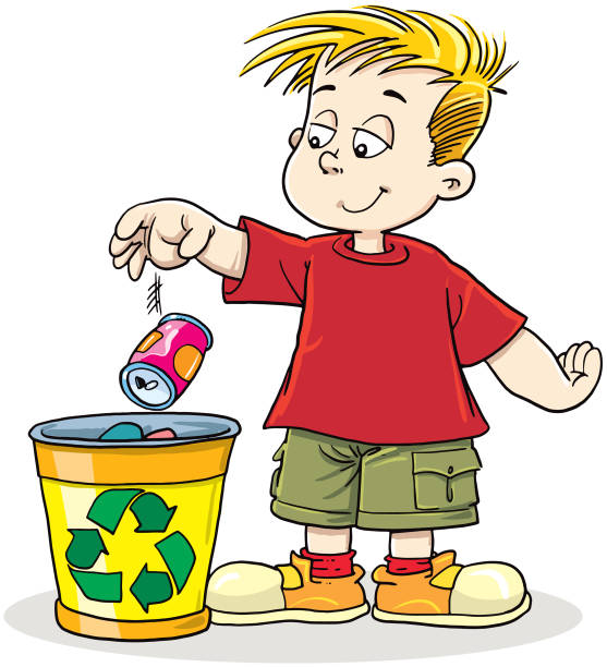 boy recycling can - child throwing garbage stock illustrations, clip art, cartoons, & icons