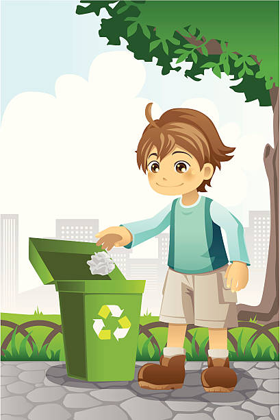 boy recycling paper - child throwing garbage stock illustrations, clip art, cartoons, & icons