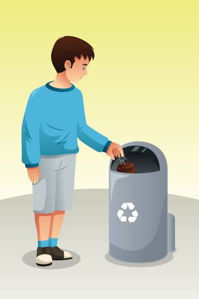 boy recycling trash in trash can - child throwing garbage stock illustrations, clip art, cartoons, & icons