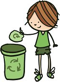 Boy recycling