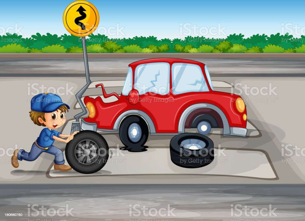 Boy repairing a car near the signage royalty-free boy repairing a car near the signage stock vector art & more images of adult