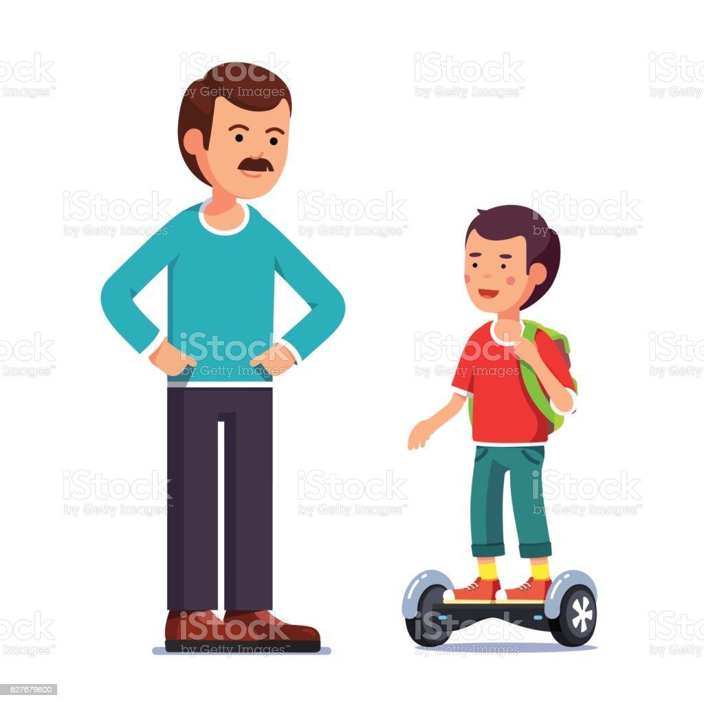 Boy riding a balancing electric gyroboard scooter vector art illustration