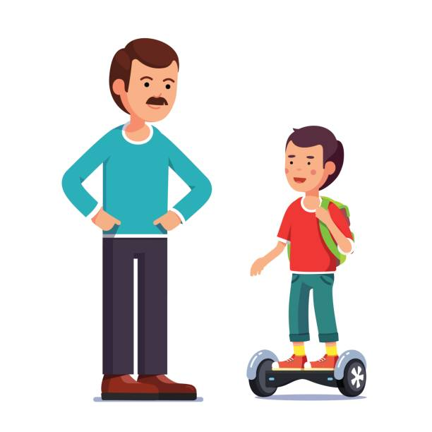 ilustraciones, imágenes clip art, dibujos animados e iconos de stock de muchacho que conduce un scooter eléctrico gyroboard equilibrio - hijo