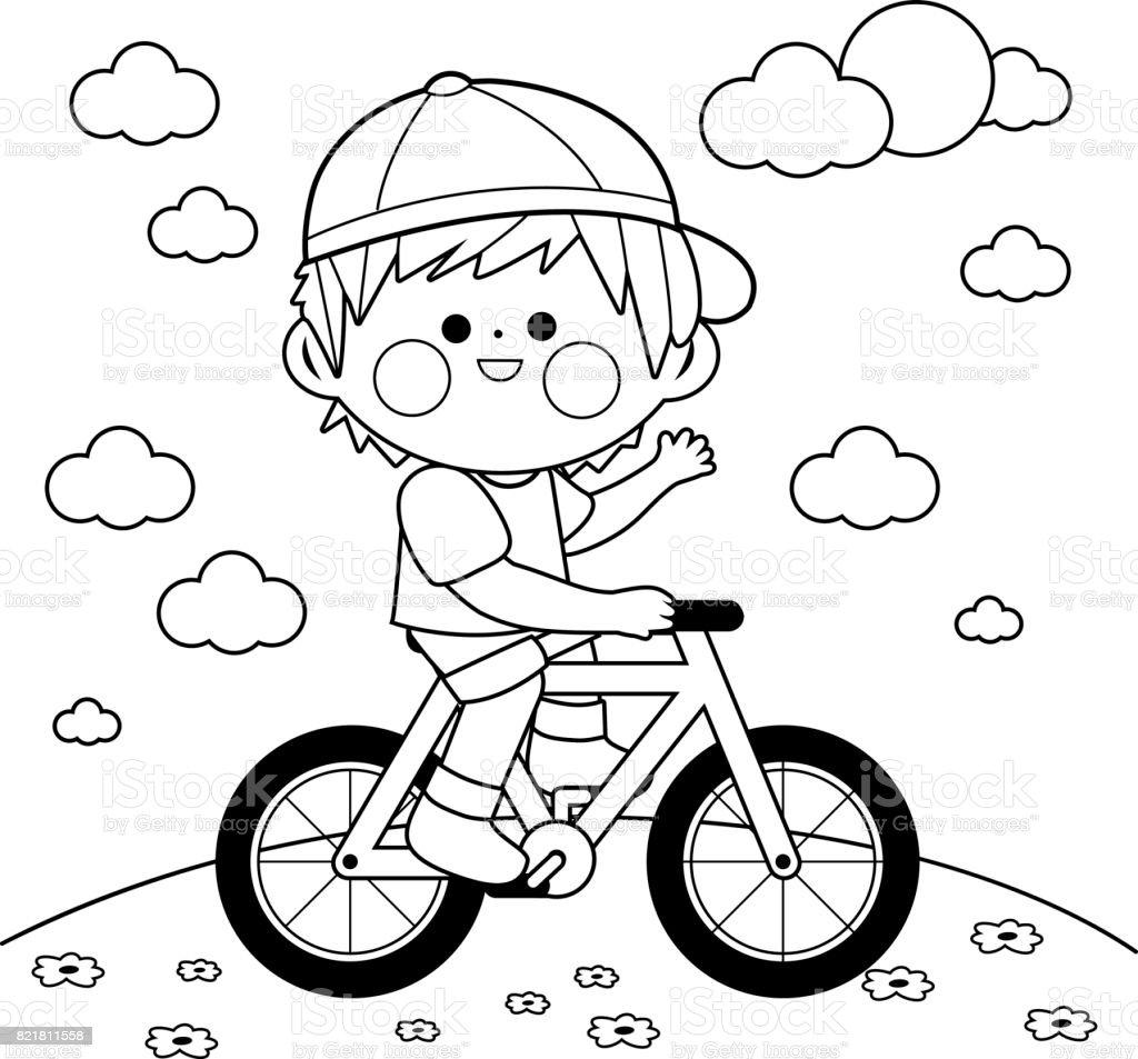 çocuk Parkta Bisiklete Binmek Siyah Ve Beyaz Kitap Sayfa Boyama Stok