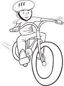 boy riding a bike outline