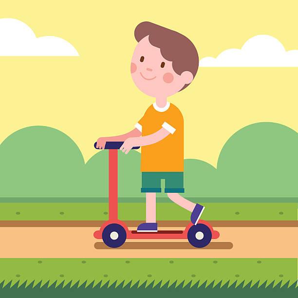stockillustraties, clipart, cartoons en iconen met boy riding a kick scooter on park road - mini amusementpark