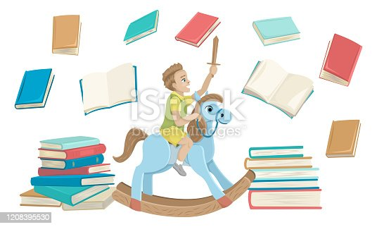 Boy riding a wooden horse, books around. Reading a fairy tale. Vector illustration