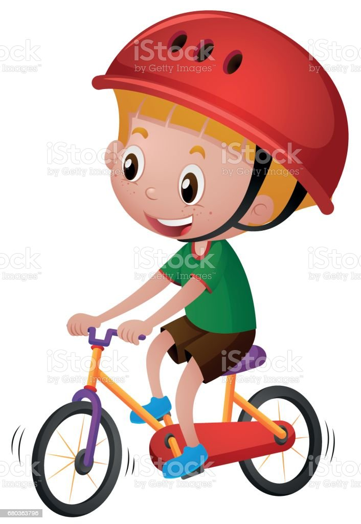 Boy riding bicycle with his helmet on royalty-free boy riding bicycle with his helmet on stock vector art & more images of activity