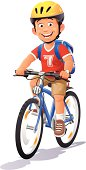 A cheerful boy with a cycling helmet and a backpack riding his bicyle, isolated on white. EPS 8, fully editable.