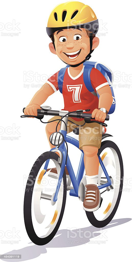 Boy Riding Bike vector art illustration